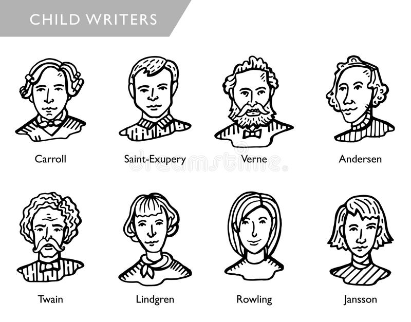 Famous children writers, vector portraits. Most famous children writers, vector portraits, Carroll, Saint-Exupery, Vernem Andersen, Twain, Lindgren Rowling vector illustration