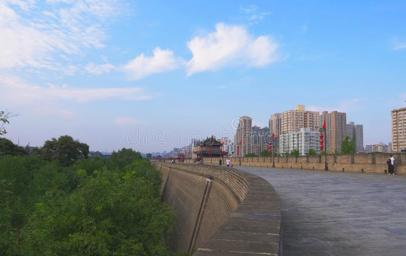 Famous Chinese ancient architecture stone city wall in Xian China.  stock photography