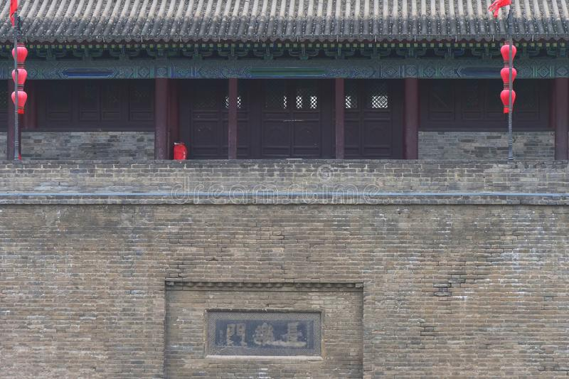 Famous Chinese ancient architecture stone city wall in Xian China.  stock photos