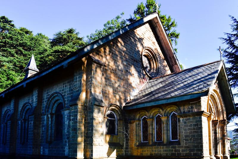 Dalhousie church. Famous church in Dalhousie on a bright sunny day. Dalhousie is a famous hill station in north India stock photos