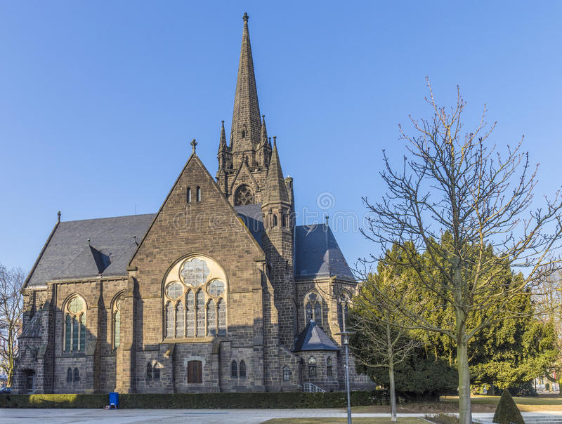 Famous church - Dankeskirche - in Bad Nauheim. Under blue sky stock images