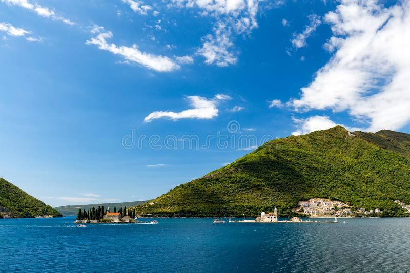 Famous churches In the lake. The Our Lady of the Rock and the Sveti Dordje churches on neighboring islands in the Bay of Kotor, Montenegro royalty free stock photo