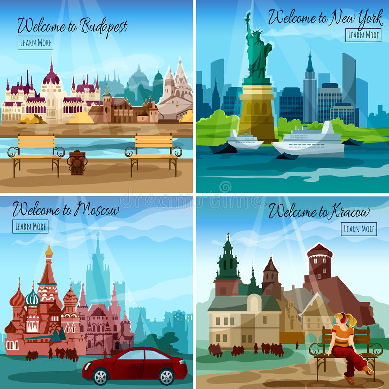 Famous Cities Set. Famous cities design concept set with budapest new york and moscow landmarks vector illustration royalty free illustration