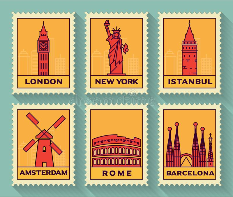 Famous Cities Stamp Collection royalty free illustration