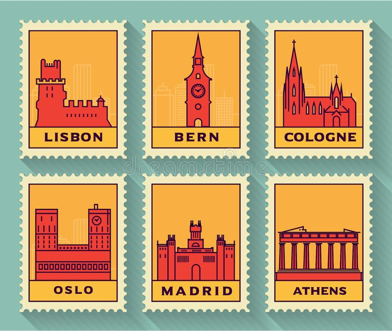 Famous Cities Stamp Collection stock illustration