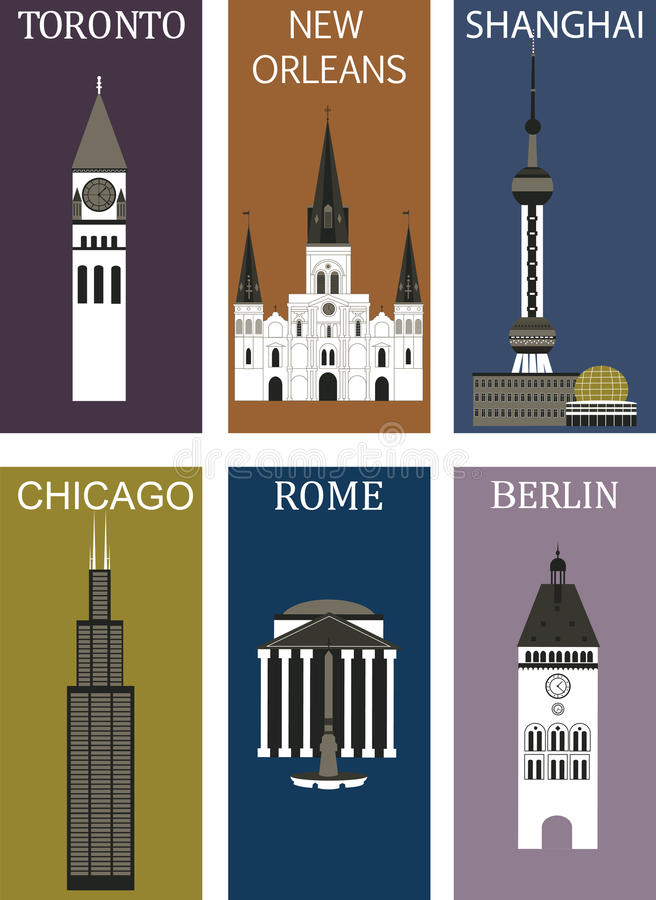 Famous cities 2. royalty free illustration