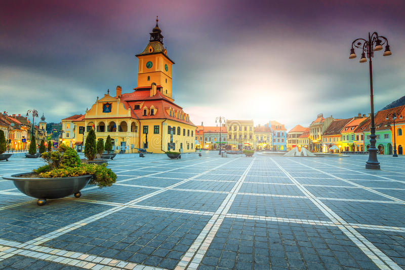 Famous city center with Council Square in Brasov, Transylvania, Romania stock photos