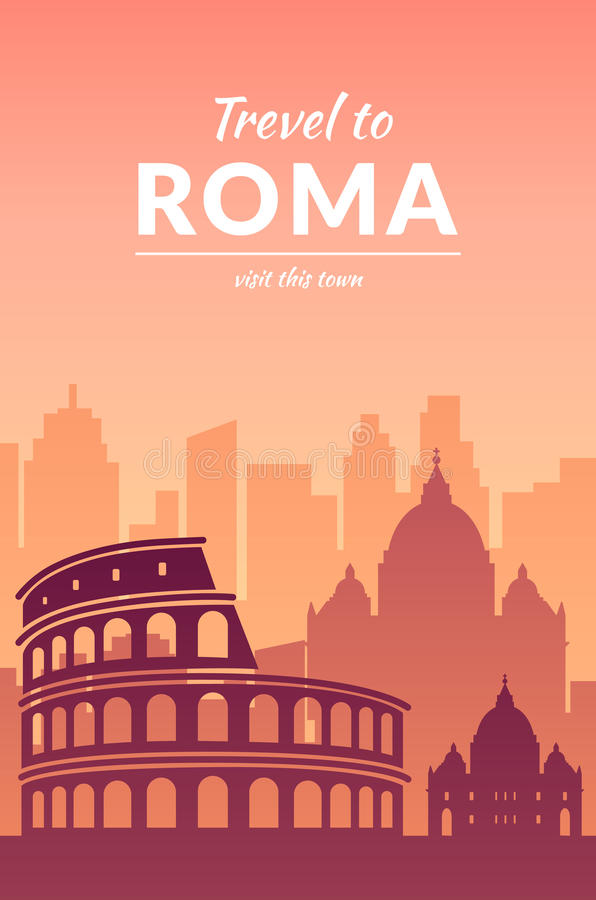 Famous city scape in color. Flat well known silhouettes. Vector illustration easy to edit vector illustration