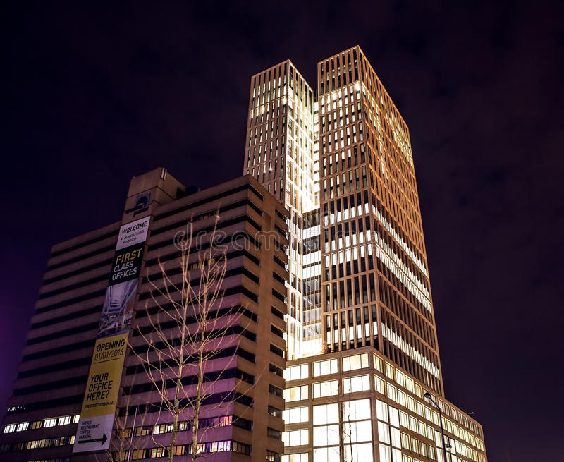 Famous city sights at night time on December 26, 2015 in Rotterdam - Netherlands. stock photography
