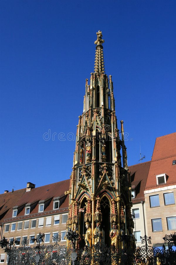 A famous city well in Nurnberg old town stock photography