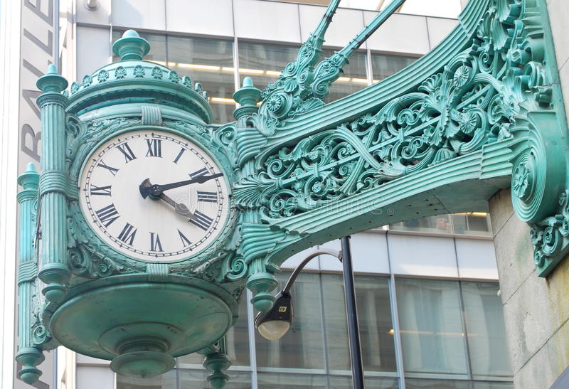 Famous clock in Chicago stock photo