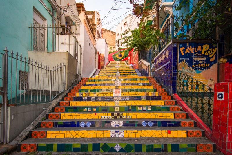 Colorful Selaron Stairs in Rio de Janeiro Center royalty free stock photos