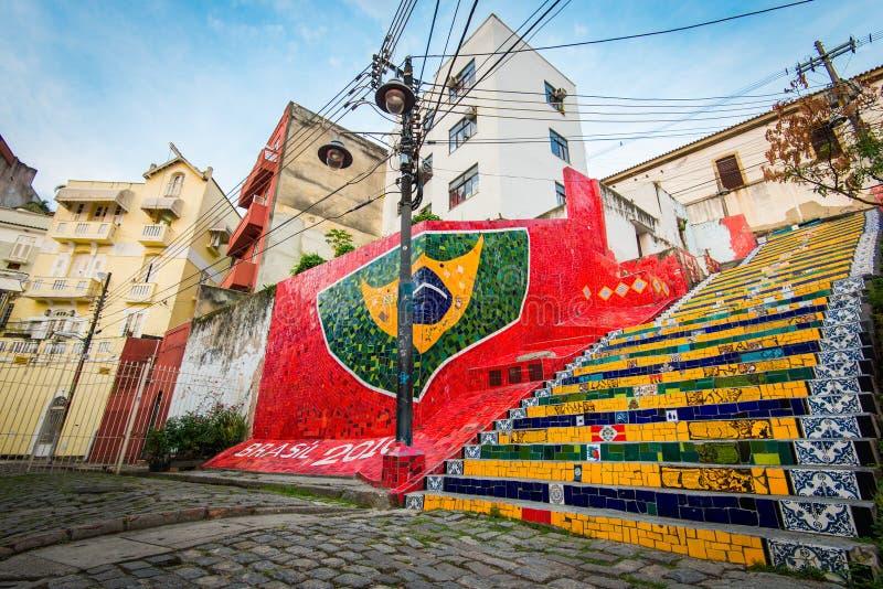 Colorful Selaron Stairs in Rio de Janeiro Center royalty free stock image