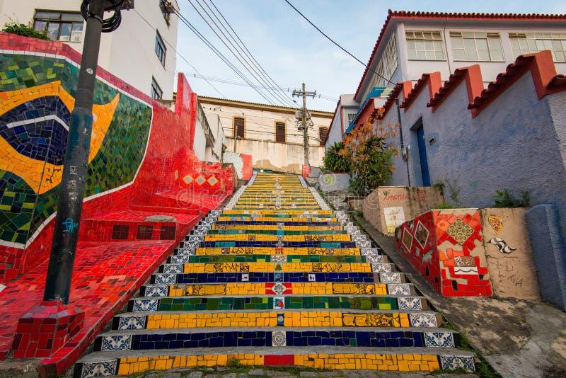 Colorful Selaron Stairs in Rio de Janeiro Center stock image