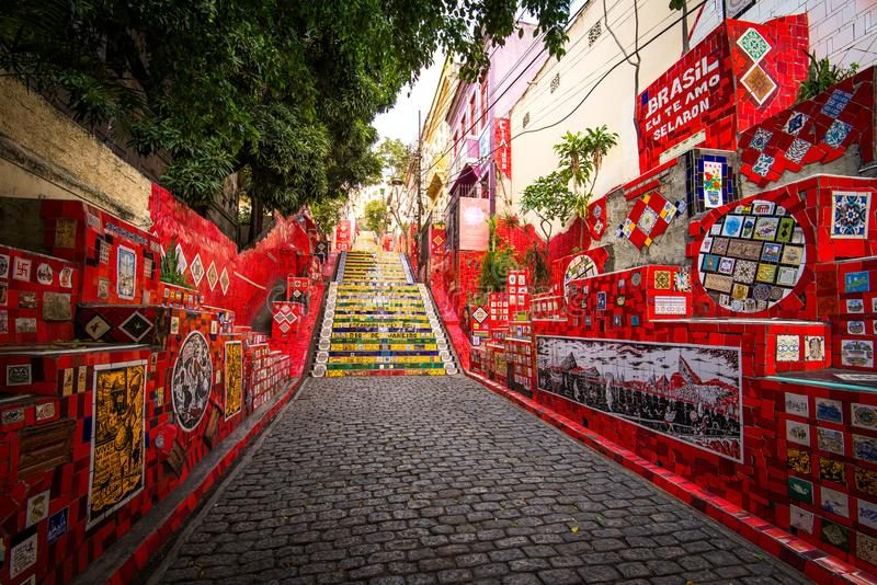 Colorful Selaron Stairs in Rio de Janeiro Center stock images
