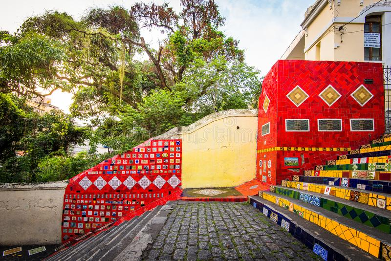 Colorful Selaron Stairs in Rio de Janeiro Center royalty free stock photo