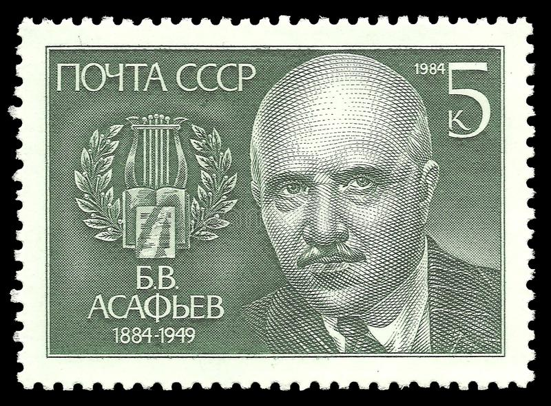 Famous composers. USSR - stamp 1984: Color edition on Famous composers, Shows Portrait of B.V. Asafev royalty free stock photos