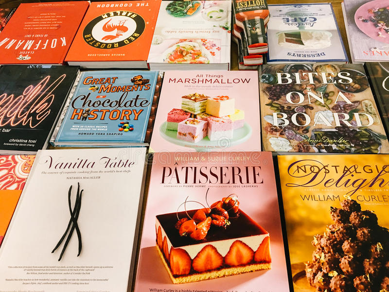 Famous Cook Recipe Books For Sale In Library Book Store. BUCHAREST, ROMANIA - MAY 06, 2017: Famous Cook Recipe Books For Sale In Library Book Store royalty free stock image