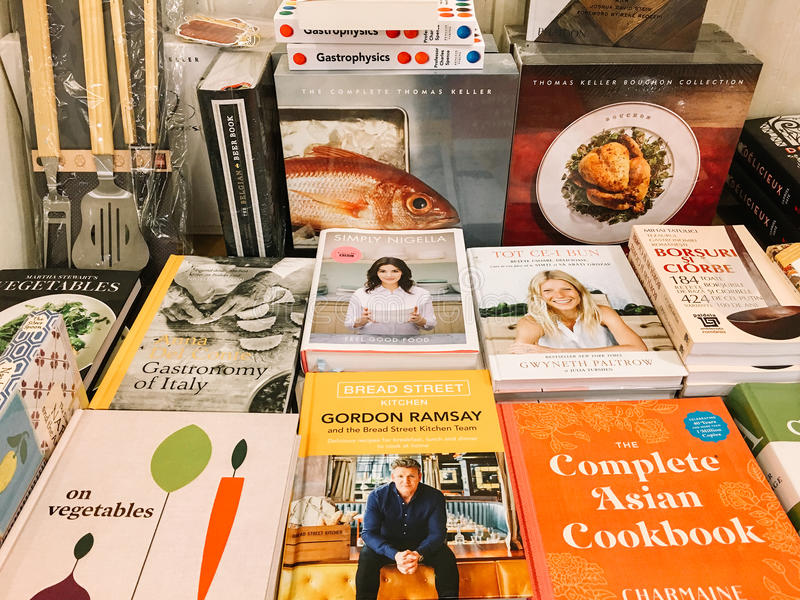 Famous Cook Recipe Books For Sale In Library Book Store. BUCHAREST, ROMANIA - MAY 06, 2017: Famous Cook Recipe Books For Sale In Library Book Store stock images