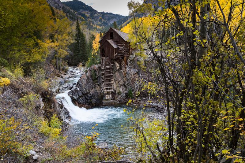Famous Crystal Mill in the fall, Colorado royalty free stock photos