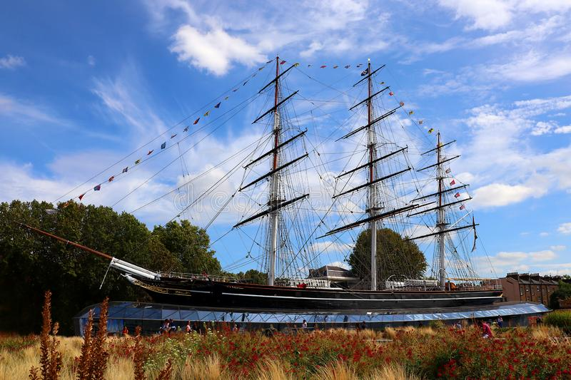 The Famous Cutty Sark Tea Clipper Ship Docked In Greenwich, London, England. The famous tea clipper ship, the Cutty Sark, one of the last sailing ships built royalty free stock image