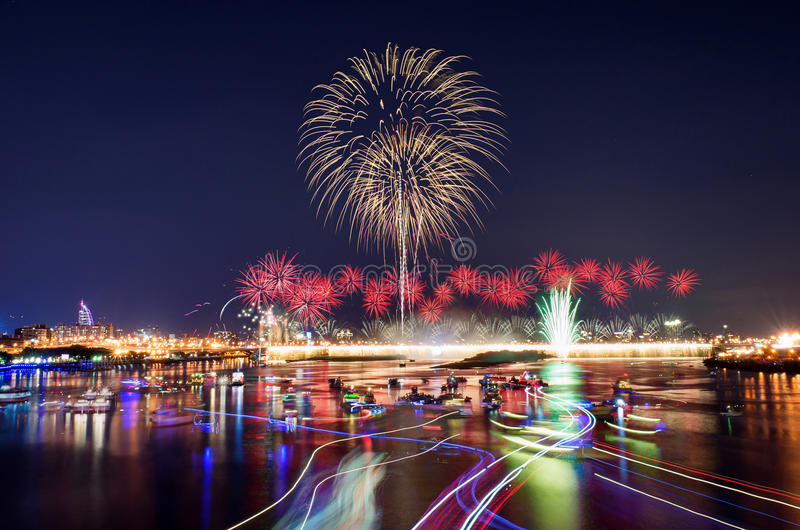 The famous Dadaocheng firework show in Taipei stock images