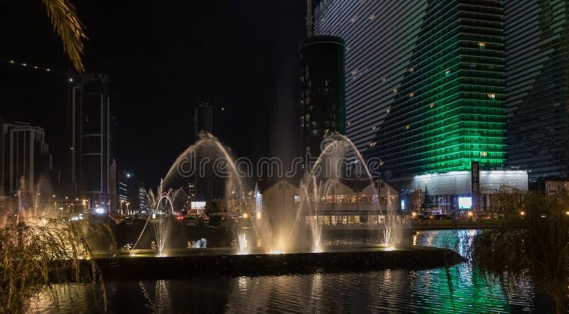 Famous Dancing Fountains on Andagani Lake on the promenade of the Batumi city in Georgia stock photos