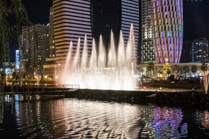 Famous Dancing Fountains on Andagani Lake on the promenade of the Batumi city in Georgia stock photography