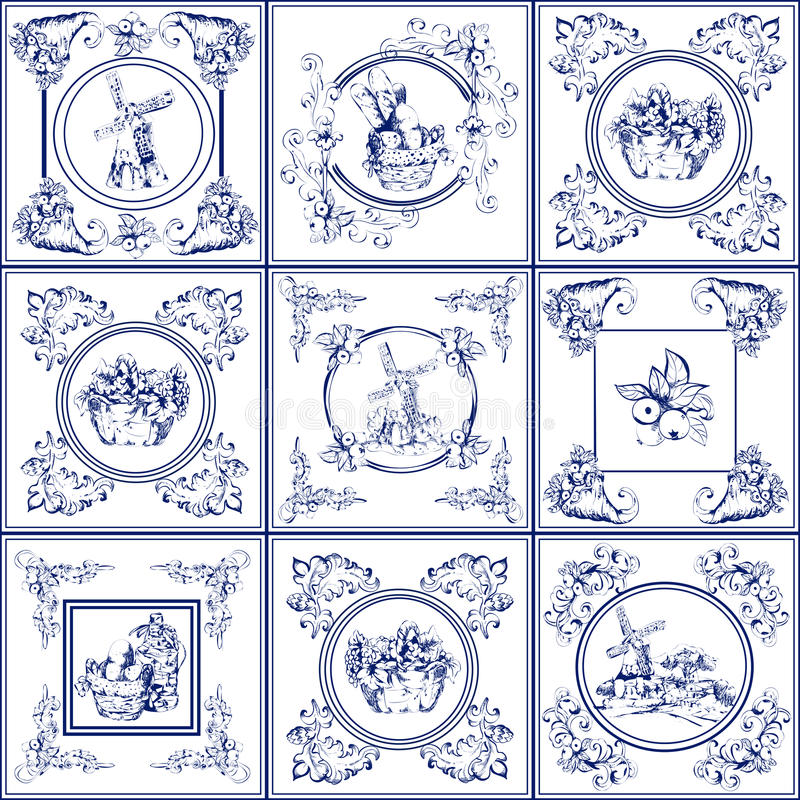 Famous delft blue tiles icons collection. Delft blue kitchen and fireplace tiles used all over the world icons collection abstract vector illustration vector illustration