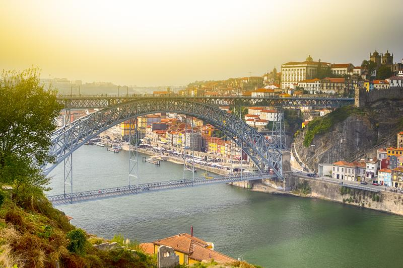 Famous Destinations. Amazing Porto City In Portugal at Sunset royalty free stock photo
