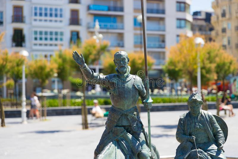 Saint Sebastian/ Spain – 10.05.2019 : Don quixote  bronze statue Saint sebastian royalty free stock images