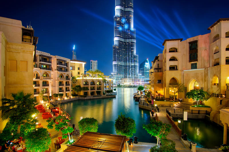 Famous downtown area in Dubai at night. United Arab Emirates. Beautiful famous downtown area in Dubai at night, Dubai, United Arab Emirates stock image