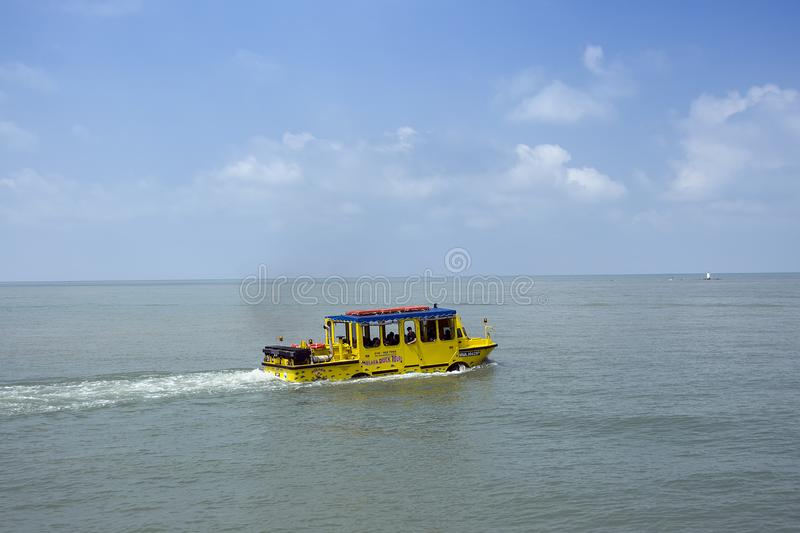 Famous duck tours attraction with an amphibious vehicle that can operate both as a bus and as a boat. stock image
