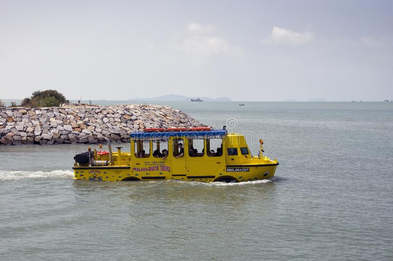 Famous duck tours attraction with an amphibious vehicle that can operate both as a bus and as a boat. stock images