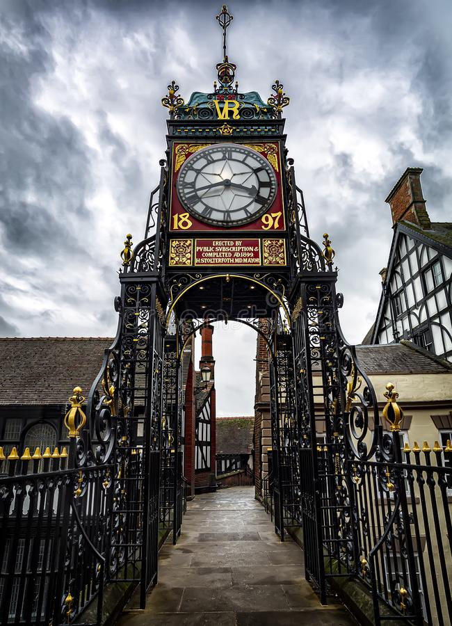 The famous Eastgate Clock, viewed from the historic city walls in the city of Chester, UK royalty free stock images