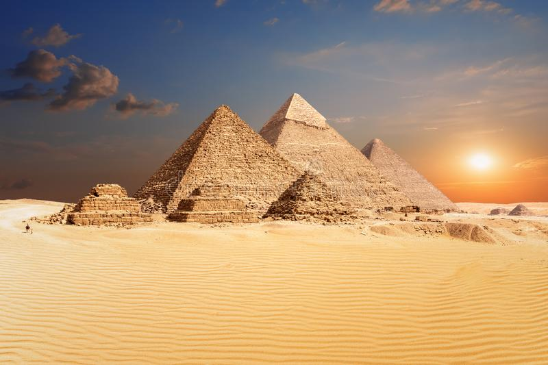 Famous Egyptian Pyramids of Giza, beautiful view royalty free stock images