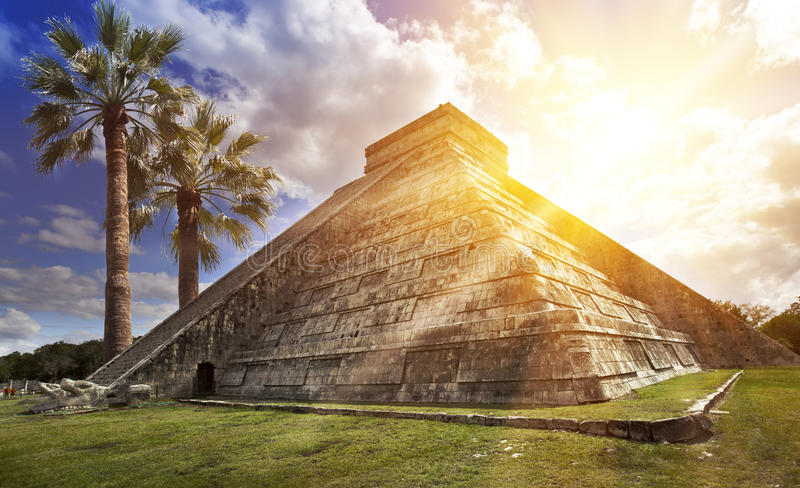 Famous El Castillo pyramid The Kukulkan Temple, feathered serpent pyramid at Maya archaeological site of Chichen Itza in Yucatan royalty free stock image