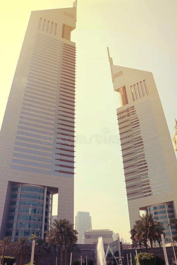 The famous Emirates towers in Dubai UAE on Sep 29 2017. Beautiful architecture twinning building in Dubai. Luxurious hotel. Shorter tower has 54 floors and the royalty free stock photography