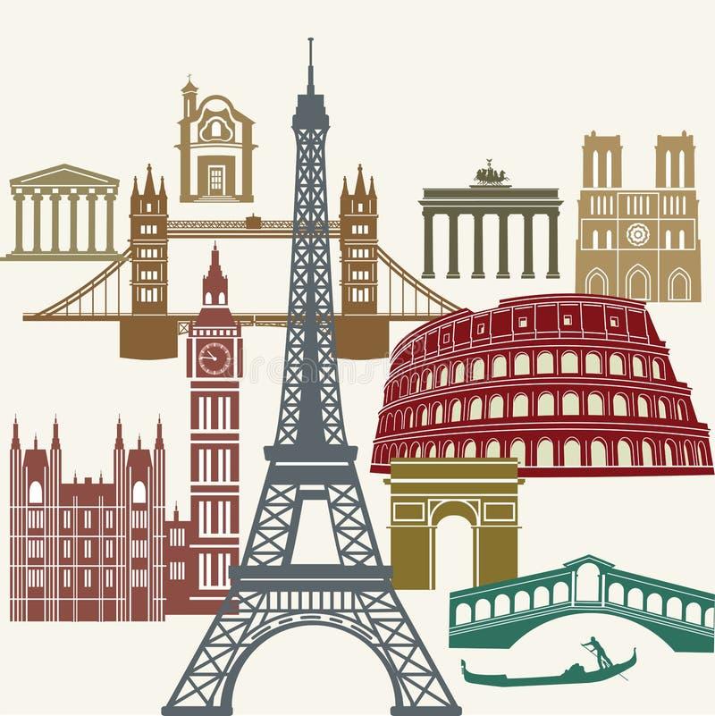 Famous European landmarks royalty free illustration