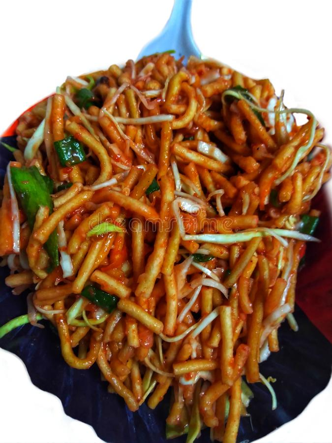 Famous Evening Snacks Known As Chinese Bhel. royalty free stock photo