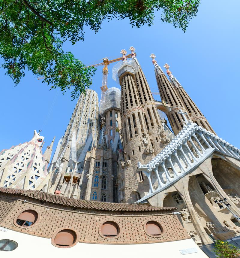 Famous Expiatory Church of Holy Family Sagrada Familia, Barcelona, Spain. BARCELONA, SPAIN - SEPTEMBER 13, 2018: Famous Expiatory Church of Holy Family Sagrada royalty free stock images