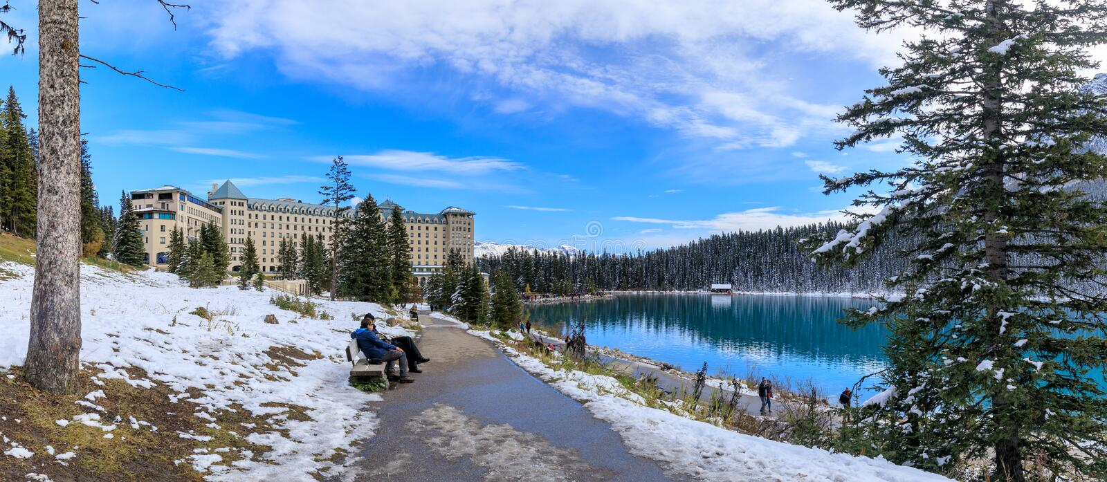 Famous Fairmont Chateau Lake Louise Hotel in the Banff National Park. Alberta, Canada - October 7, 2018 : Famous Fairmont Chateau Lake Louise Hotel in the Banff royalty free stock photos