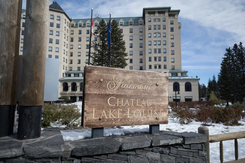 Famous Fairmont Chateau Lake Louise Hotel in the Banff National Park. Alberta, Canada - October 7, 2018 : Famous Fairmont Chateau Lake Louise Hotel in the Banff royalty free stock photo
