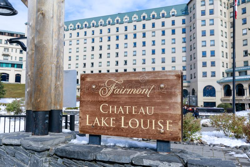 Famous Fairmont Chateau Lake Louise Hotel in the Banff National Park. Alberta, Canada - October 7, 2018 : Famous Fairmont Chateau Lake Louise Hotel in the Banff stock images
