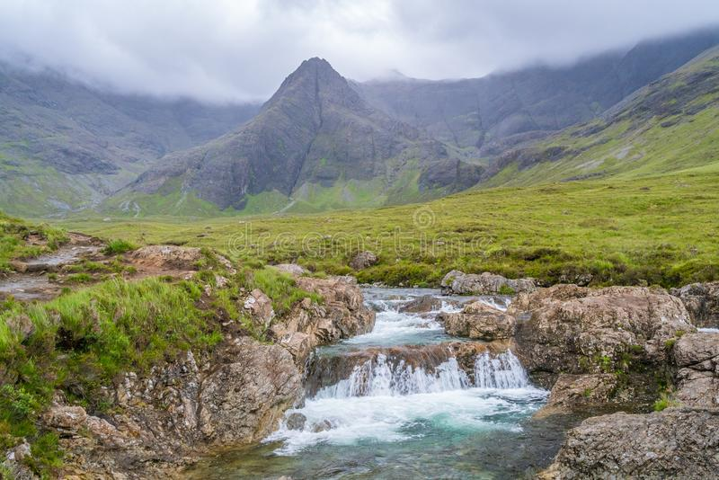 The famous Fairy Pools with the Black Cuillin Mountains in the background, Isle of Skye, Scotland. The Fairy Pools are a natural waterfall phenomenon in Glen royalty free stock image
