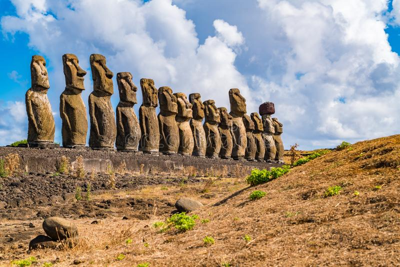 The famous fifteen Moai at Ahu Tongariki on Rapa Nui or Easter Island. In Chile stock photography