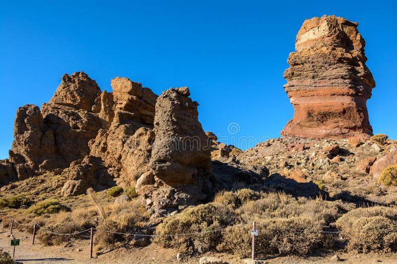 The famous Finger Of God rock. Tenerife. Spain royalty free stock photography