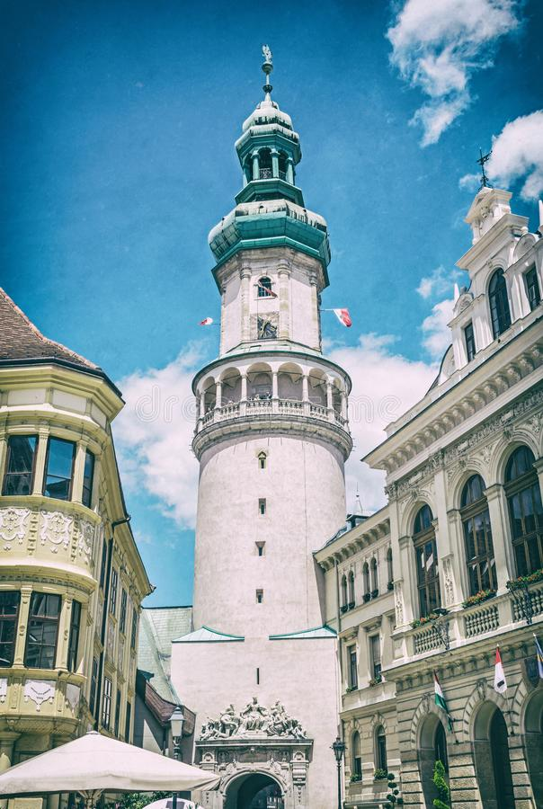 Famous Fire tower in Sopron, Hungary, analog filter. Famous Fire tower in Sopron, Hungary. Travel destination. Architectural theme. Analog photo filter with stock images