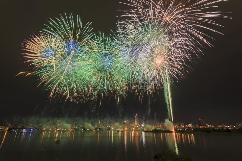 Famous firework show of dadaocheng stock photo