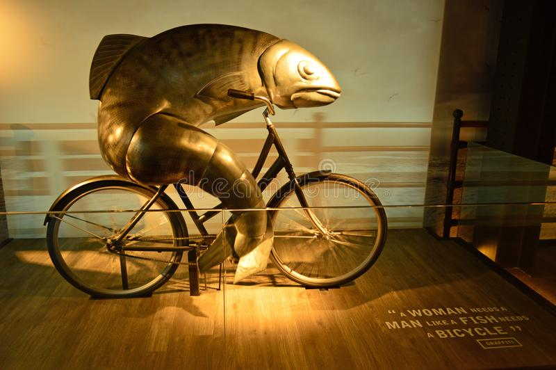 The famous fish on a bike in the factory dublin royalty free stock photos